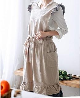 YXDZ YXDZ Damen Schürze Fashion Overknee Länge Adult Restaurant Princess Lace Haushalts Baumwolle Schürze Sweatshirt Khaki