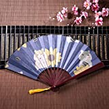 WYYWCY Fan de Poche en Bambou Fan Hamster Domestique Mignon avec Cadre en Bambou Pendentif Gland et Sac en Tissu Fan de Bambou Japonais Fan Japonais à la Main Ventilateur Chinois Kung Fu