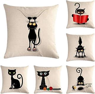 Funda de cojín Juego de 6 Angry Black Cat Pattern Lino Algodón Abrazo Funda de Almohada Sofá Funda de cojín Decoración del hogar Almohada 45X45Cm