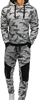 Maweisong Men Camo Jacket Tracksuits Sweatshirts Athletic Top Pants Sets