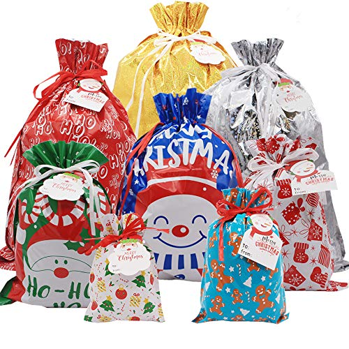 iLovepaper 36PCS Christmas Drawstrings Bag- Assorted Christmas Wrapping Bags Upgraded 8 Design with Name Tags Christmas Goodie Bags for Birthday Christmas Party
