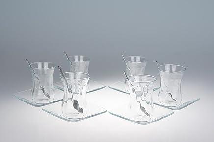 Preisvergleich für Orginal türkisches Tee Set Teeset 'Basic'/ 6 klassische Gläser/ 6 Rührlöffel (von KD)/ 6 Untersetzer