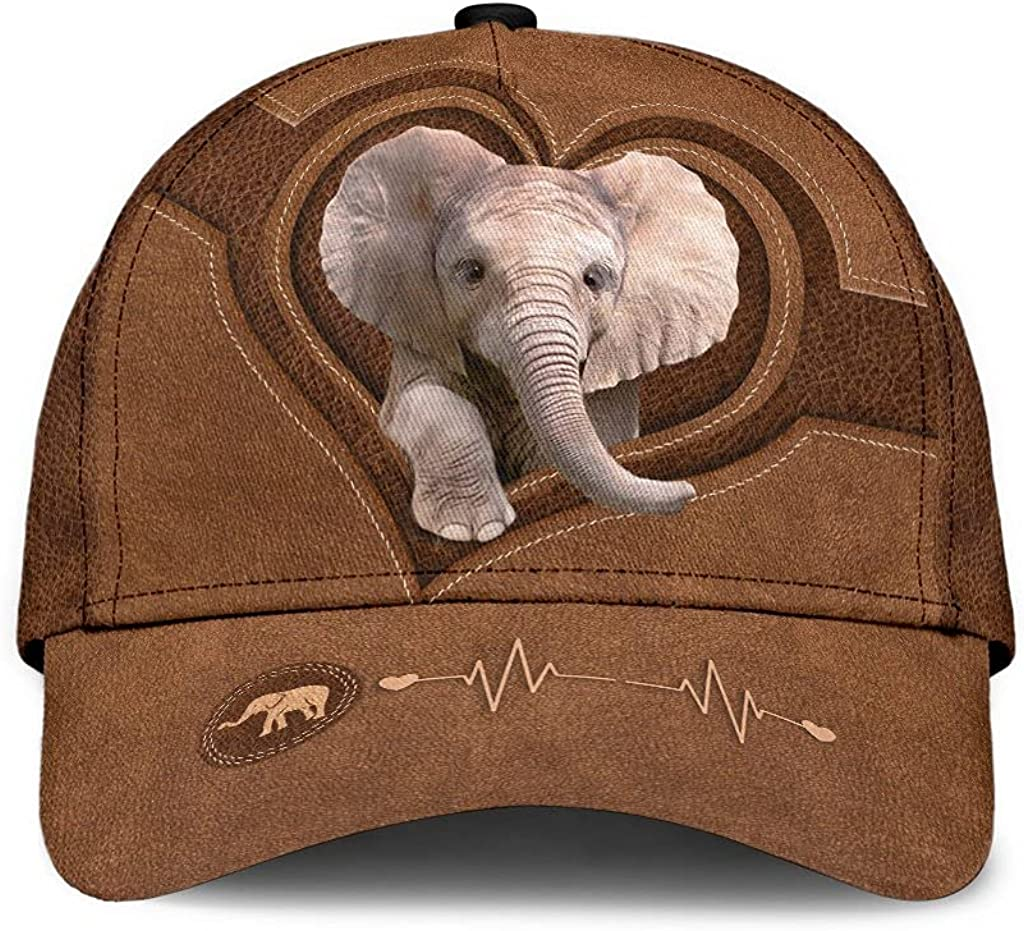 Elephant Classic Cap Heart Beat Baby Elephant Classic Cap 3D Baseball Cap for Men Cap for Women with Adjustable Strap Sports Soft Caps Outdoor