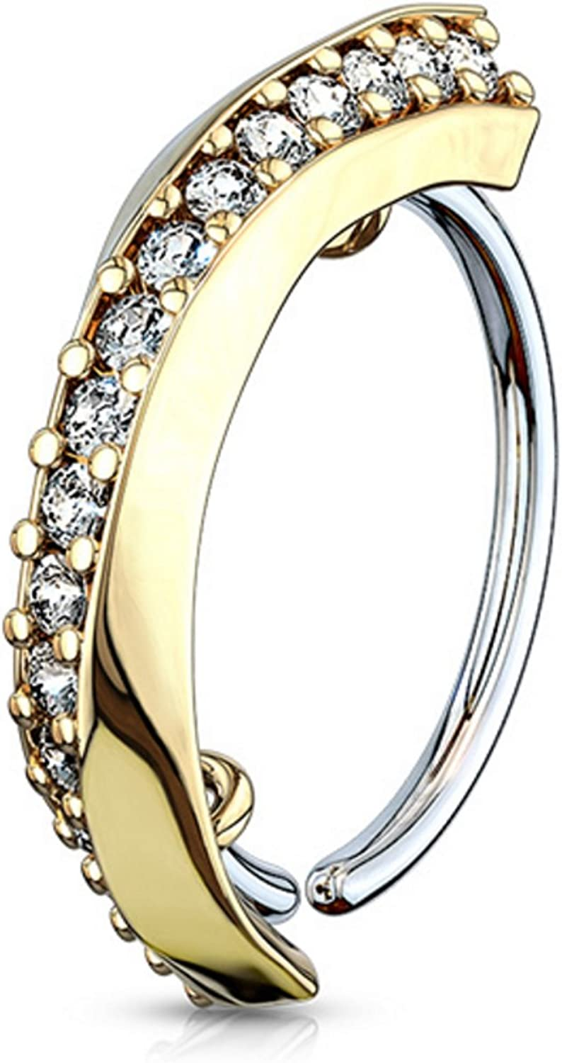 CZ Lined Half Circle Bendable Nose/Cartilage Piercing Hoop Ring (20G/18G)