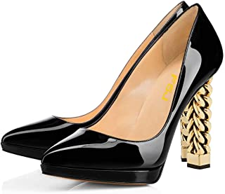 FSJ Women Gold Metal Chain Chunky High Heel Pointed Toe Slip On Fashion Pumps Shoes Size 4-15 US