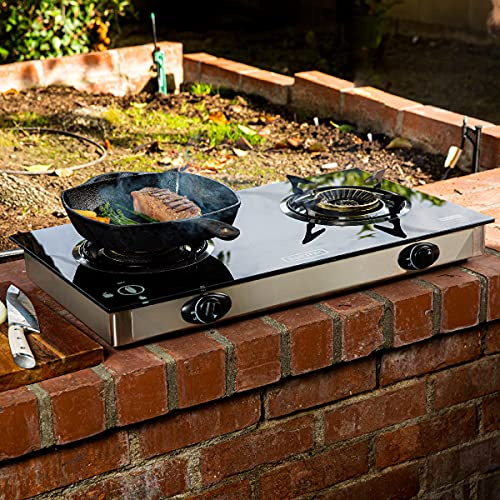 XtremepowerUS Premium Propane Gas Range Stove Outdoor 2-Burner Cooktop Auto Ignition Grill Camping Stoves Station