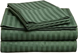 Superior 300 Thread Count 100% Premium Combed Cotton, 4-Piece Bed Sheet Set, Deep Pocket, Single Ply, Sateen Stripe, California King - Hunter Green