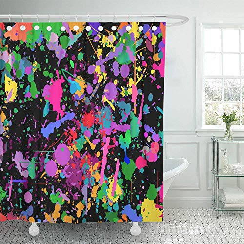 "JOOCAR Colorful Splatter Abstract Shower Curtains for Bathroom,Bright Fabric Shower Curtain with 12 Hooks 66""x72"""