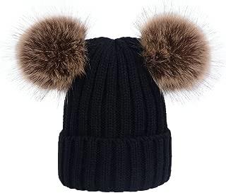 Winter Women's Winter Knit Wool Beanie Hat with Double Faux Fur Pom Pom Ears