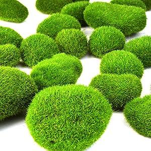 lnimi 36pcs 5 size artificial moss rocks decorative green moss balls fake moss decor for floral arrangements gardens silk flower arrangements