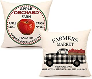 4TH Emotion Fall Apple Farm Throw Pillow Cover Farmhouse Market Truck Cushion Case for Sofa Couch 18 x 18 Inches Cotton Linen Set of 2