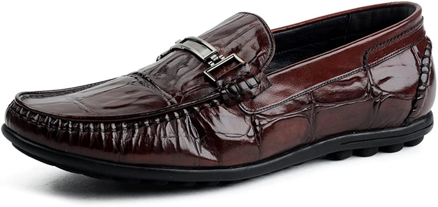 MedzRE Men's Apron Toe Formal Casual Loafers in Cow Leather