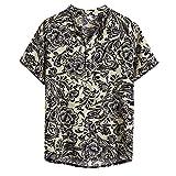 FONMA Mens T Shirts Ethnic Short Sleeve Casual Cotton Linen Hawaiian Tops Blouse Gray