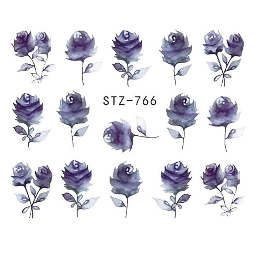 固体蘇生する無駄にSUKTI&XIAO ネイルステッカー 完全な美1シートの宝石類の釘のステッカーの黒い花のステッカーのマニキュアの水移動のスライダーホイルの設計装飾、Stz-766