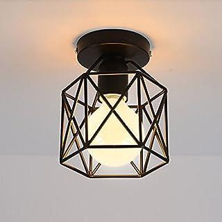 STOEX Plafonnier Industrielle Retro En Métal Cube Fer Noir, Suspension  Luminaire Pour Salon Chambre Café