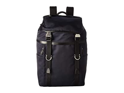 Salvatore Ferragamo The Gancini Nylon Backpack 24A068 (Navy/Black) Backpack Bags