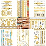 Metallic Temporary Tattoos - Over 100 Gold Silver Henna Sexy Body Tattoos for Women Teens Girls Glitter Shimmer Mandala Mehndi Designs Jewelry Tattoo Stickers (8 sheets Turquoise & Gold)