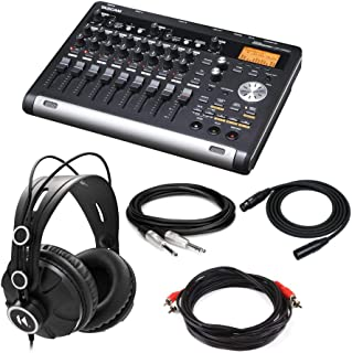 """Tascam DP-03SD 8-Track Digital Portastudio Bundle with Knox Gear Closed-Back Studio Monitor Headphones, XLR Cable (25 Ft.), 1/4"""" TRS Cable, & Male-to-Male RCA Cable (5 Items)"""