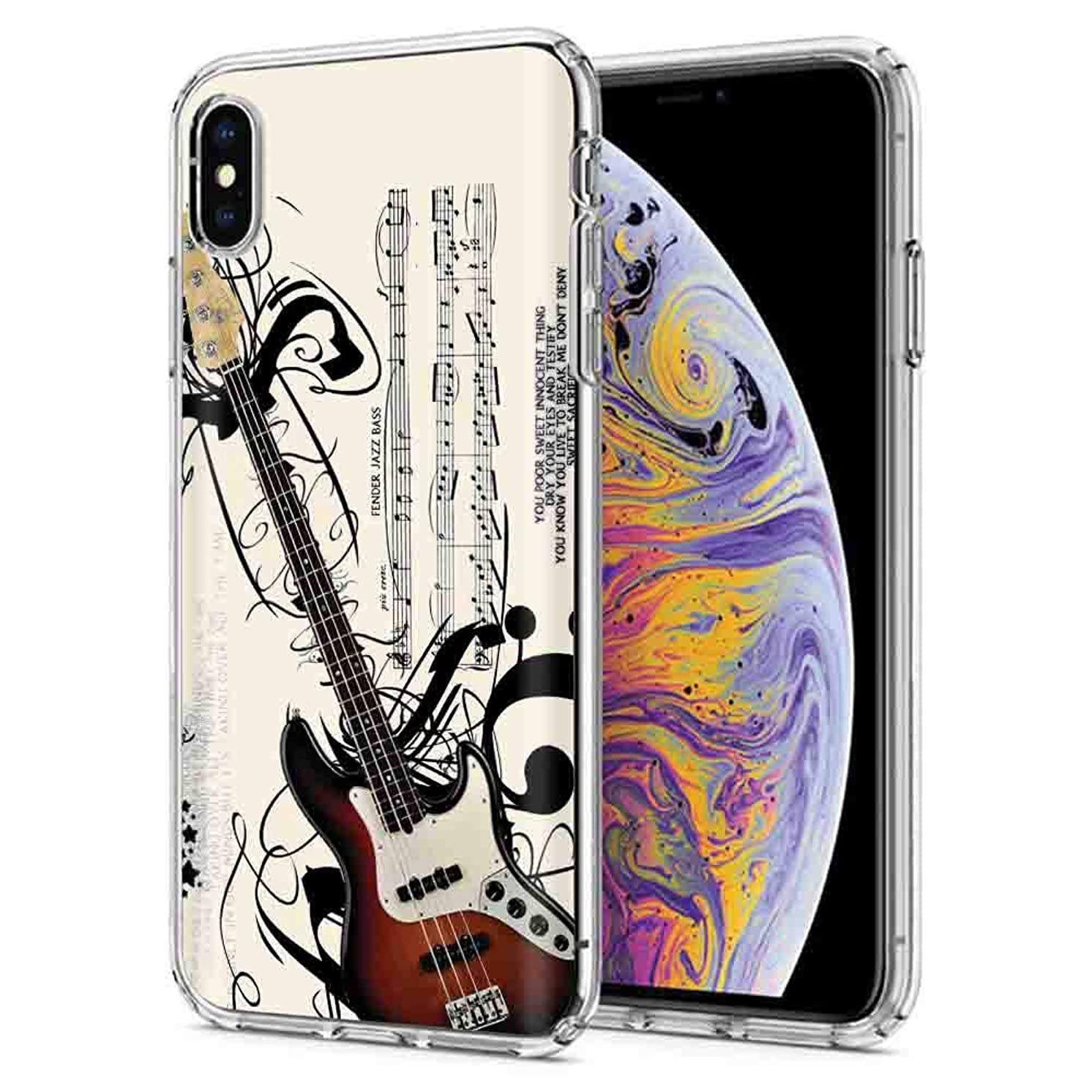iPhone Xs/X [NakedShield] Slim Flex Gel Skin Case for Apple iPhone Xs/X [Music Guitar] Design