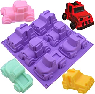 Efivs Arts 6 Truck Jeep Car Shape Silicone Cake Baking Mold Cake Pan Muffin Cups Handmade Soap Molds Biscuit Chocolate Ice Cube Tray DIY Mold