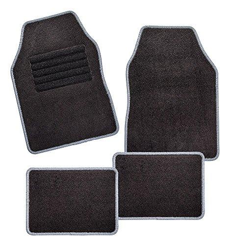 CarFashion 257703 Misano, Universal Velour, Automatte für fast alle Auto, 4-teiliges Fussmatten Set mit grauer Einfassung