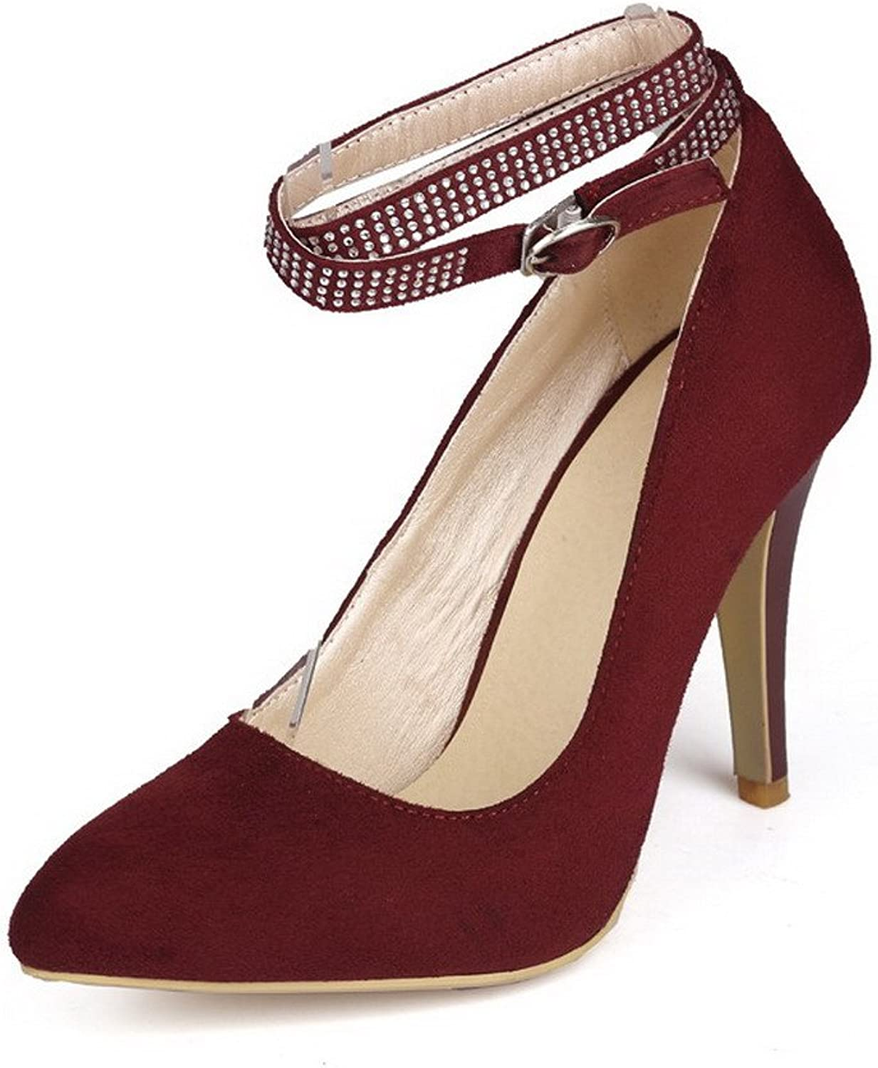 WeenFashion Women's Frosted Pointed Closed Toe High-Heels Buckle Solid Pumps-shoes