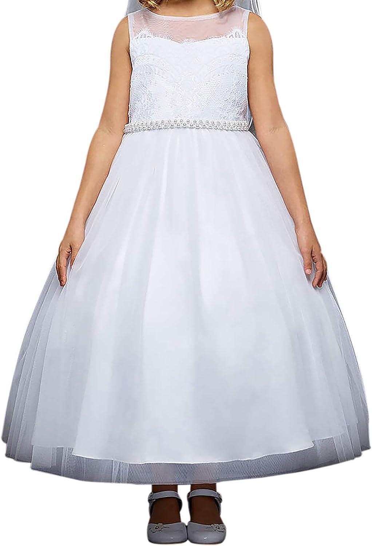 BNY Corner Venetian Lace Sweetheart Holy Communion Wedding Flower Girl Dress