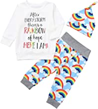 Toddler Baby Girls Boys 3Pcs Clothes Sets for 0-24 Months,Lovely Letter Rainbow Printed Romper Tops Pants Hat Outfits Set