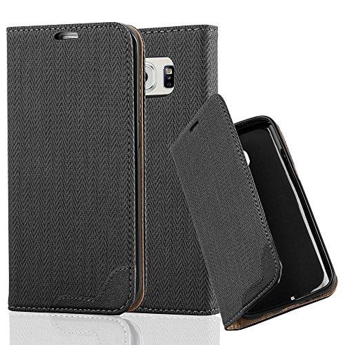 Cadorabo Samsung Galaxy S6 Edge Funda de Cuero Sintético Rafia en Negro ÉBANO Cubierta Protectora Estilo Libro con Cierre Magnético, Tarjetero y Función de Suporte Etui Case Cover Carcasa