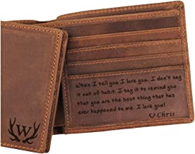 Custom Mens Leather Wallet, Engraved Wallet for Men, Anniversary Gifts for Men, Mens Personalized Gifts