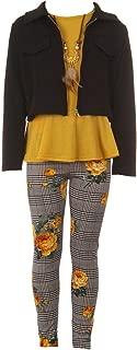 Girls 4 Pieces Pant Set Long Sleeve Jacket Necklace Floral Plaid Pant 4-14