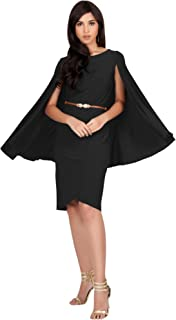 Womens Cape Long Sleeve Round Neck Cocktail with Leather Belt Mini Dress