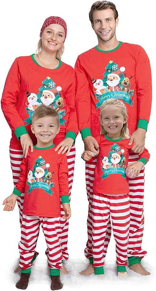 SETSCZY 1 Long Sleeved top 1 Trousers Family Pajamas Matching Sets Matching Christmas PJs for Family Xmas Santa Claus Print Sleepwear Set,Mens,XL