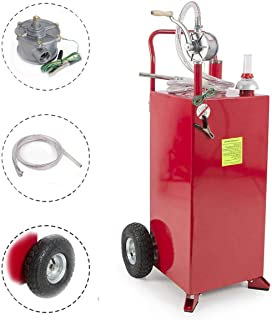 W4-Moto 30 Gallon Gas Caddy Fuel Tank Portable Storage Transfer Gasoline with Pump 30-Gallons Capacity