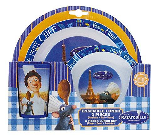 FUN HOUSE 005203 Ratatouille Ensemble de Repas pour Enfants - 3 pièces, Polypropylène, Bleu, 26,5 x 7 x 25 cm