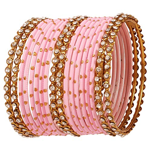 Touchstone New Indian Bollywood Single Line Clear Rhinestone Coupled with Textured Pink Color Golden Glitters Pretty Look Designer Jewelry Bangle Bracelets Set of 18 in Antique Gold Tone for Women.