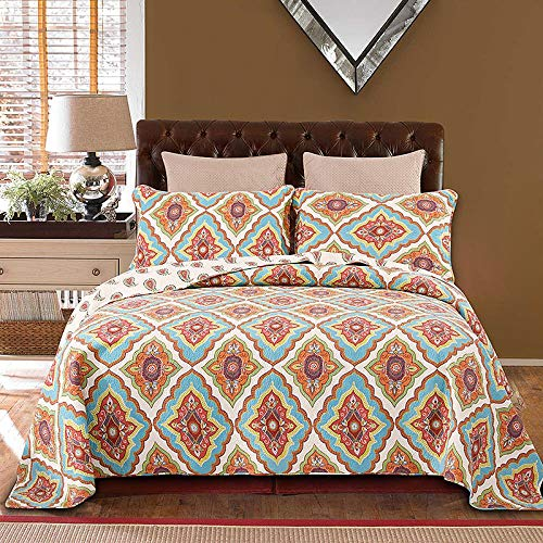 LDDPP All Seasons In Cotton, Densely Embroidered Quilted Quilt 3-piece Summer Bed Cover Quilt Ultra Soft Microfiber With Cotton Filling Coverlet