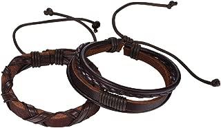 U7 Men Women Personalized Wrist Cuff Bracelets Stainless Steel Braided Leather Wrap Bracelet Bangle,Simple Band/Twin Skull/1-4 Pieces Set