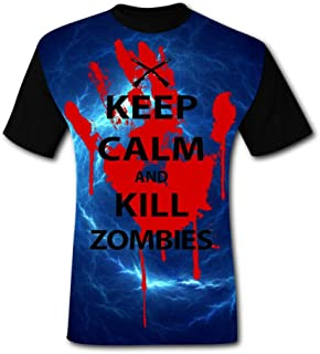 Keep Calm and Kill Zombies Bloody Hand Men's T-Shirt 3D Printed Fashion Short Sleeve Tees Shirt T Shirts Blouse for Men
