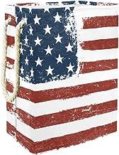 Laundry Organizer American Flag GrungeLaundry Hamper Handles Waterproof Portable Washing Bin Bathroom College