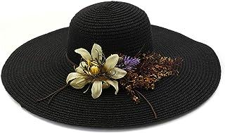 SHENTIANWEI Summer Hat Women Flower Wreath Wide Side Beach Hat Crochet Hat Soft Hat Desold Welding Straw Hat