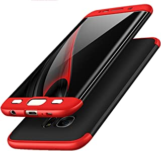 Galaxy S6 Edge Case, ACMBO 3 in 1 Ultra Thin Slim Fit Front & Back Protection Anti-Scratch Shockproof Hard PC Plastic Bumper Protective Back Case Cover for Samsung Galaxy S6 Edge G9250, Red+Black