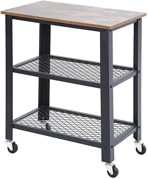 Zoternen Vintage 3 Tier Serving Cart Multifunction Kitchen Rolling Cart Storage Shelf 29 9223 6215 75in