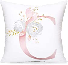 Smilyard Pink Floral Wreath Single Capital Letter Print Sofa Decorative Pillow Covers Cushion Case Super Soft Festival Day Gift Throw Pillowcase 18 x 18 inch (C)