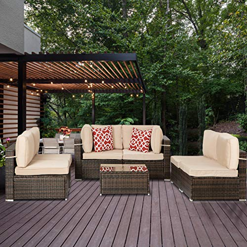 Aclumsy 7 Pieces Outdoor Sectional Sofa All-Weather Patio Furniture Sets Manual Weaving Wicker Rattan Patio Conversation Sets with Cushion and Glass Table (Brown)