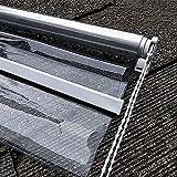 FUFU Outdoor-Rollo Jalousien, 0,5 mm PVC 100% wasserdicht, Schwerer transparentes Fenster/Türen Vorhänge, Regenschutz für Pavillons Balkon, Bohrung anpassbare Größe