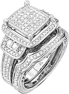 TGDJ .925 Sterling Silver 0.43 Ct Round Cut Natural Diamond Wedding Ring - High Polish Finish Promise Anniversary Band for Women - Comfort Fit Exquisite Fashion Jewelry