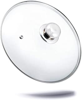 Kerafactum – Tapadera Cristal Lavavajillas Universal para olla y sartén de cristal de calidad Tapa de cristal con orificio para vapor de alta calidad mango de acero inoxidable transparente 14 cm
