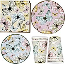 """Butterfly Party Supplies Tableware Set 24 9"""" Paper Plates 24 7"""" Plate 24 9 Oz Cups 50 Lunch Napkin for Spring Butterflies ..."""