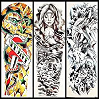 25スタイルの一時的な入れ墨のステッカー祈る泣く尼僧の女の子フルフラワーアーム防水入れ墨Gqb-031女性男性大きな偽の入れ墨